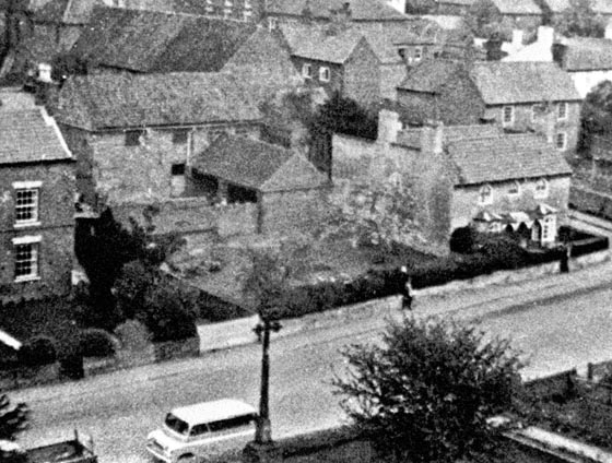Main Street From Church Tower showing Church Farm and Rose Cottage